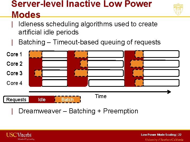 Server-level Inactive Low Power Modes   Idleness scheduling algorithms used to create artificial idle