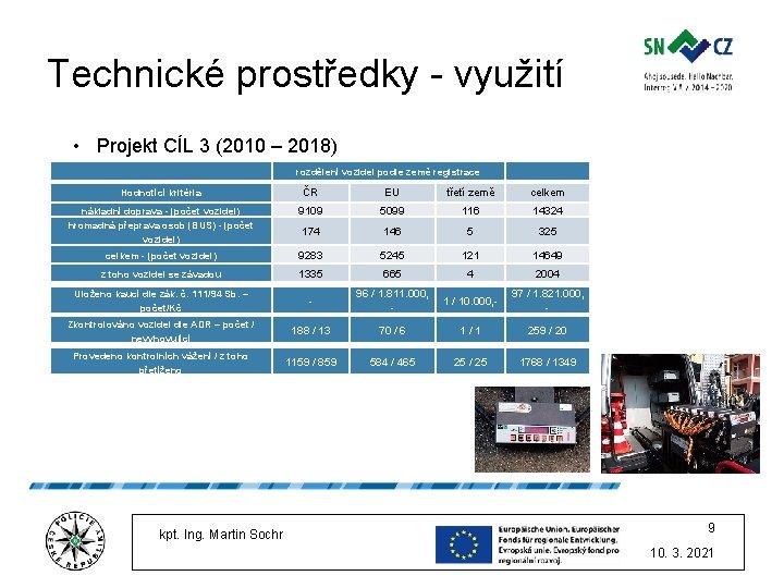 Technické prostředky - využití • Projekt CÍL 3 (2010 – 2018) rozdělení vozidel podle