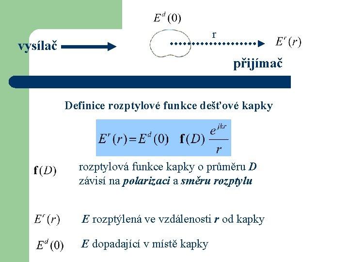r vysílač přijímač Definice rozptylové funkce dešťové kapky rozptylová funkce kapky o průměru D
