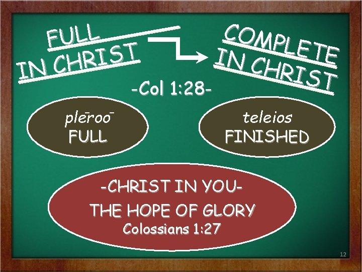 COM PLET E IN C HRIS T -Col 1: 28 - L L U