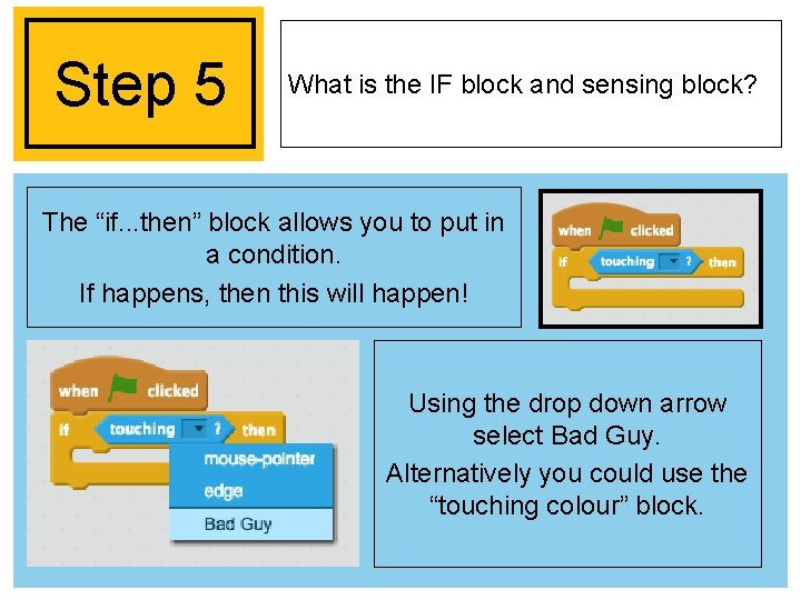 """Step 5 What is the IF block and sensing block? The """"if. . ."""