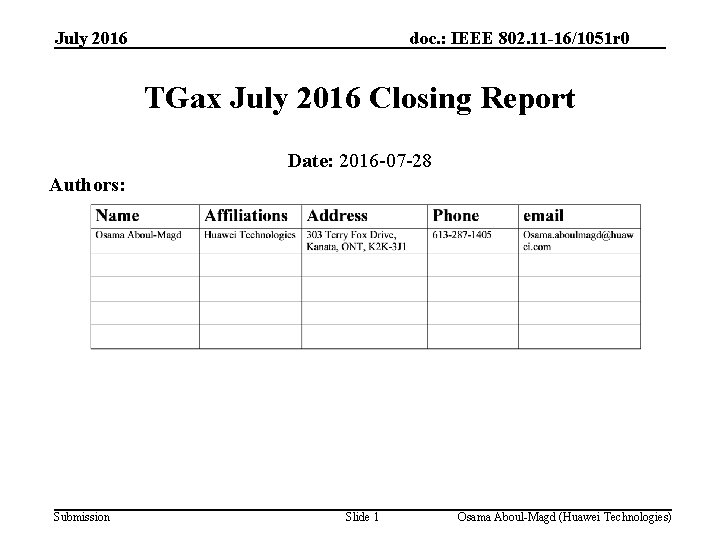 July 2016 doc. : IEEE 802. 11 -16/1051 r 0 TGax July 2016 Closing