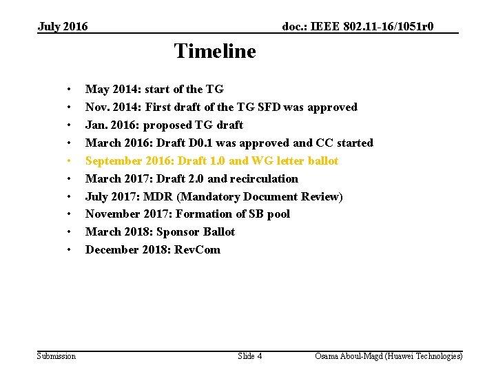 July 2016 doc. : IEEE 802. 11 -16/1051 r 0 Timeline • • •