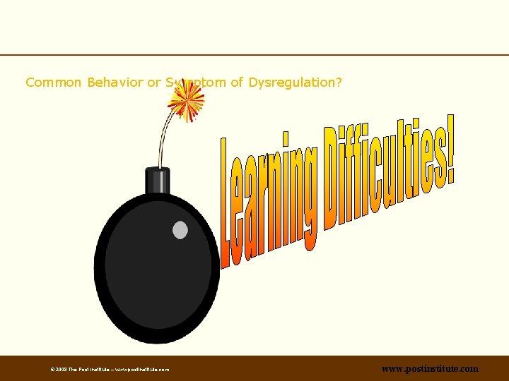 Common Behavior or Symptom of Dysregulation? © 2008 The Post Institute – www. postinstitute.
