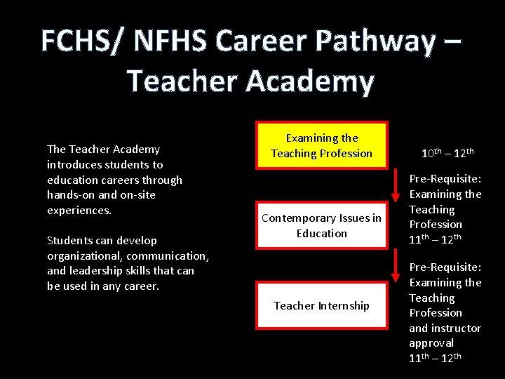 FCHS/ NFHS Career Pathway – Teacher Academy The Teacher Academy introduces students to education