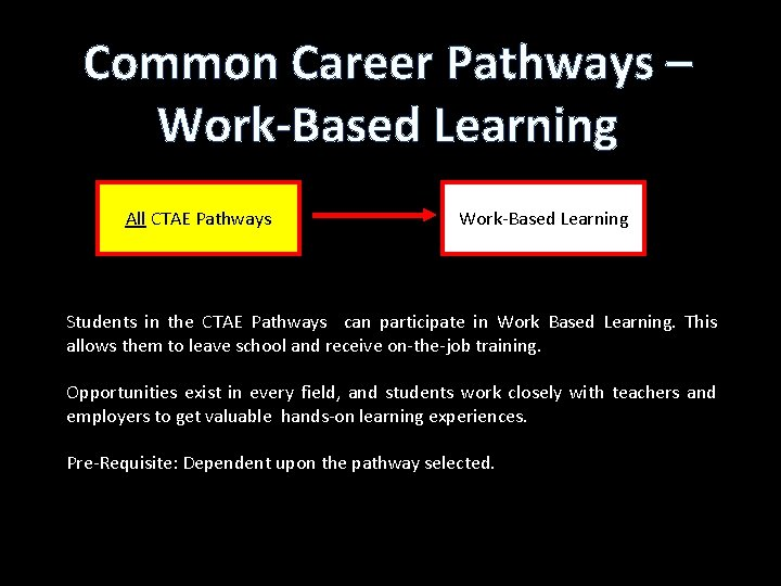 Common Career Pathways – Work-Based Learning All CTAE Pathways Work-Based Learning Students in the