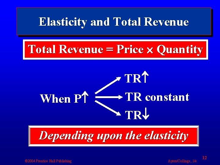 Elasticity and Total Revenue = Price Quantity When P TR TR constant TR Depending