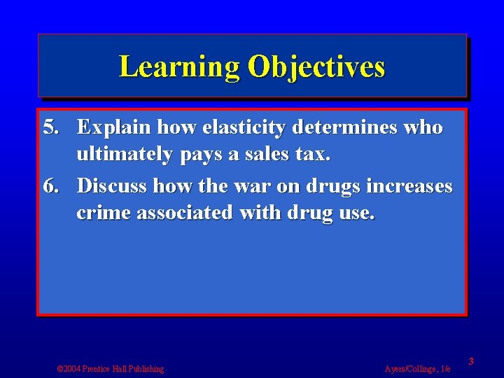 Learning Objectives 5. Explain how elasticity determines who ultimately pays a sales tax. 6.