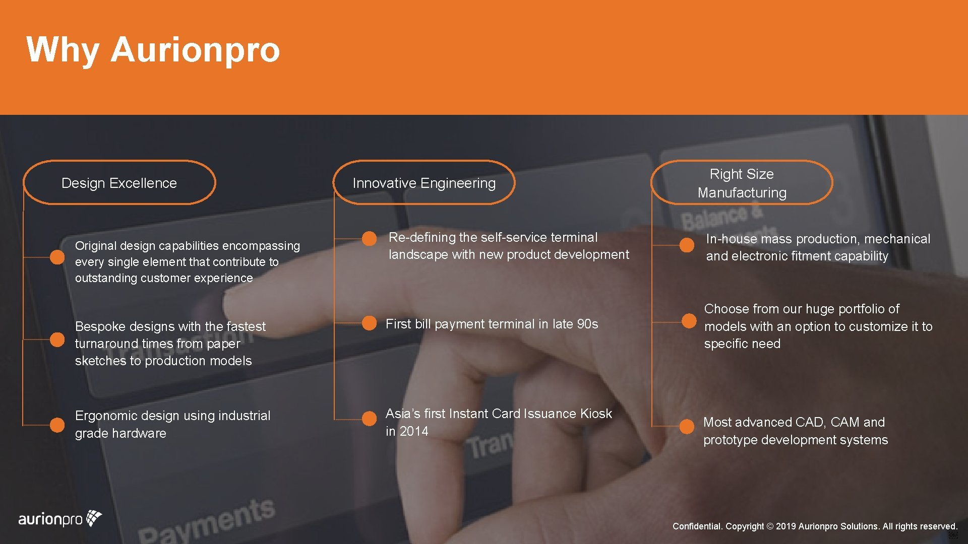 Why Aurionpro Design Excellence Innovative Engineering Right Size Manufacturing Re-defining the self-service terminal landscape