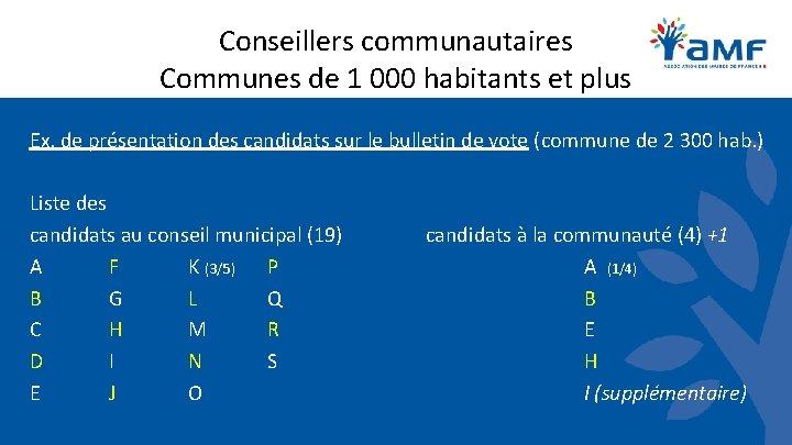 Conseillers communautaires Communes de 1 000 habitants et plus Ex. de présentation des candidats