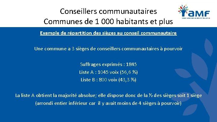Conseillers communautaires Communes de 1 000 habitants et plus Exemple de répartition des sièges