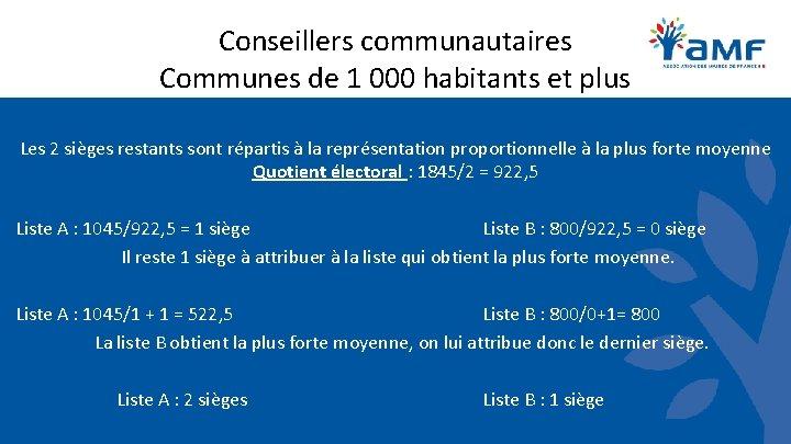 Conseillers communautaires Communes de 1 000 habitants et plus Les 2 sièges restants sont