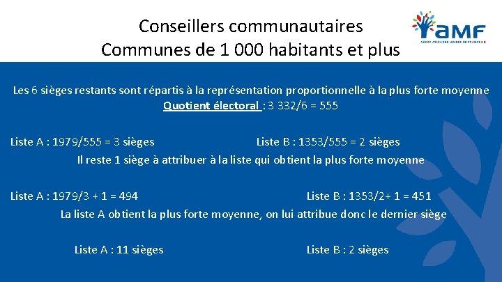 Conseillers communautaires Communes de 1 000 habitants et plus Les 6 sièges restants sont