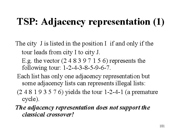 TSP: Adjacency representation (1) The city J is listed in the position I if