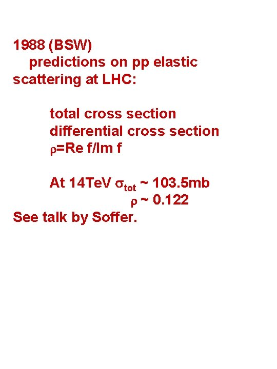 1988 (BSW) predictions on pp elastic scattering at LHC: total cross section differential cross