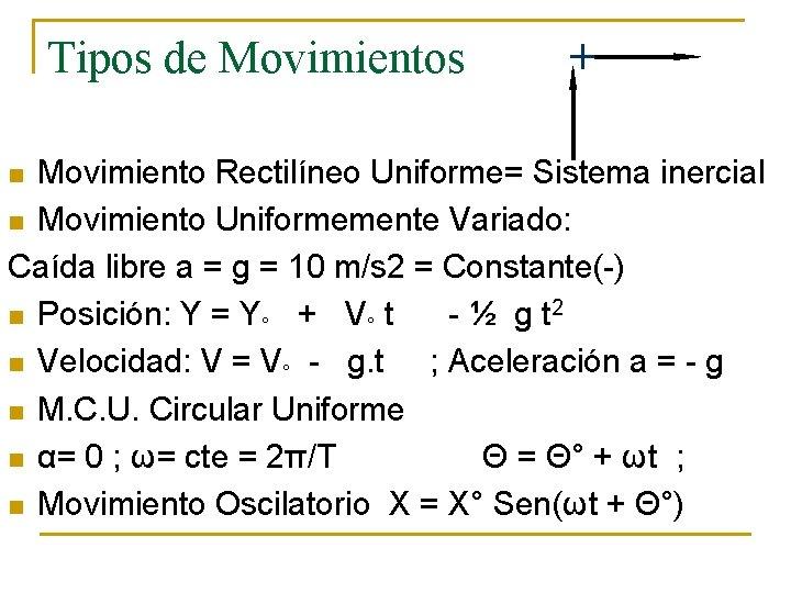 Tipos de Movimientos + Movimiento Rectilíneo Uniforme= Sistema inercial n Movimiento Uniformemente Variado: Caída