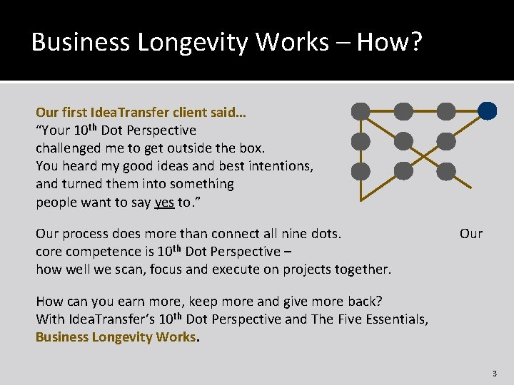 """Business Longevity Works – How? Our first Idea. Transfer client said… """"Your 10 th"""