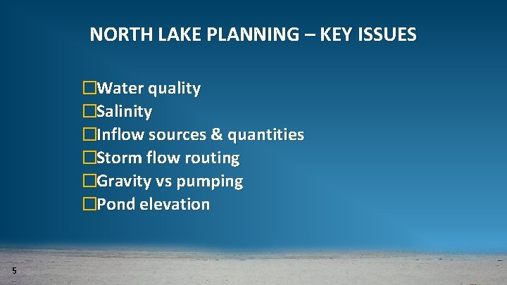 NORTH LAKE PLANNING – KEY ISSUES �Water quality �Salinity �Inflow sources & quantities �Storm