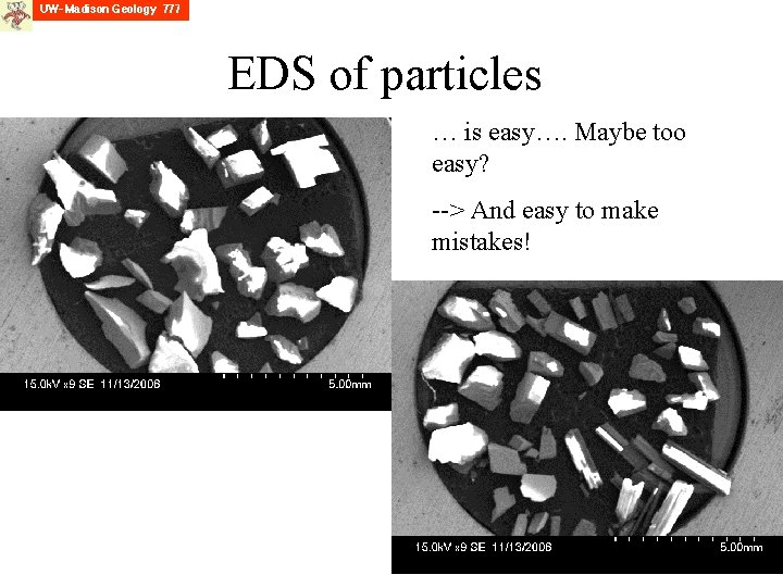 EDS of particles … is easy…. Maybe too easy? --> And easy to make