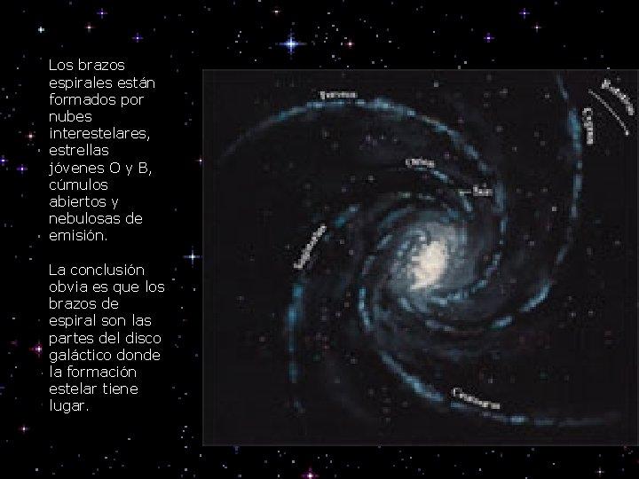 Los brazos espirales están formados por nubes interestelares, estrellas jóvenes O y B, cúmulos