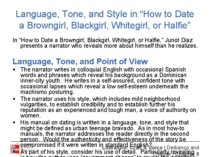 """Language, Tone, and Style in """"How to Date a Browngirl, Blackgirl, Whitegirl, or Halfie"""""""