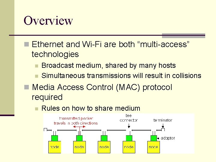 """Overview n Ethernet and Wi-Fi are both """"multi-access"""" technologies n n Broadcast medium, shared"""