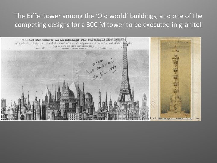 The Eiffel tower among the 'Old world' buildings, and one of the competing designs