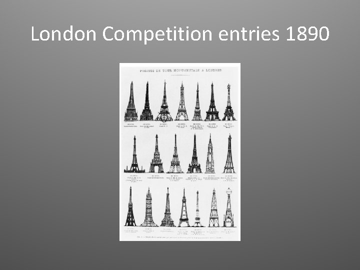 London Competition entries 1890