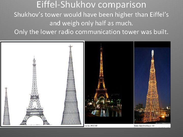 Eiffel-Shukhov comparison Shukhov's tower would have been higher than Eiffel's and weigh only half