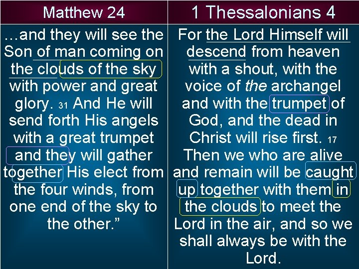 Matthew 24 …and they will see the Son of man coming on the clouds
