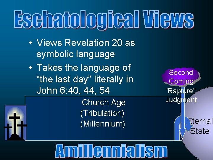 "• Views Revelation 20 as symbolic language • Takes the language of ""the"