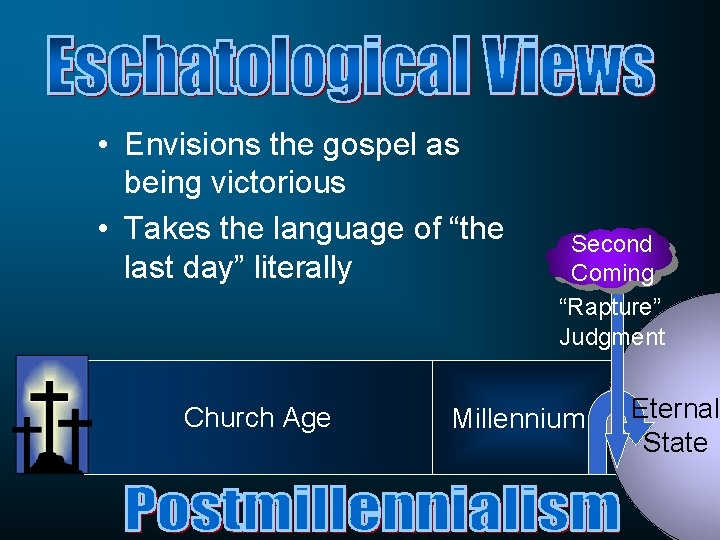 """• Envisions the gospel as being victorious • Takes the language of """"the"""