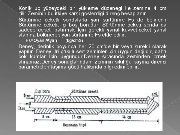 Konik uç yüzeydeki bir yükleme düzeneği ile zemine 4 cm itilir. Zeminin bu