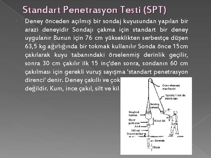 Standart Penetrasyon Testi (SPT) Deney önceden açılmış bir sondaj kuyusundan yapılan bir arazi deneyidir