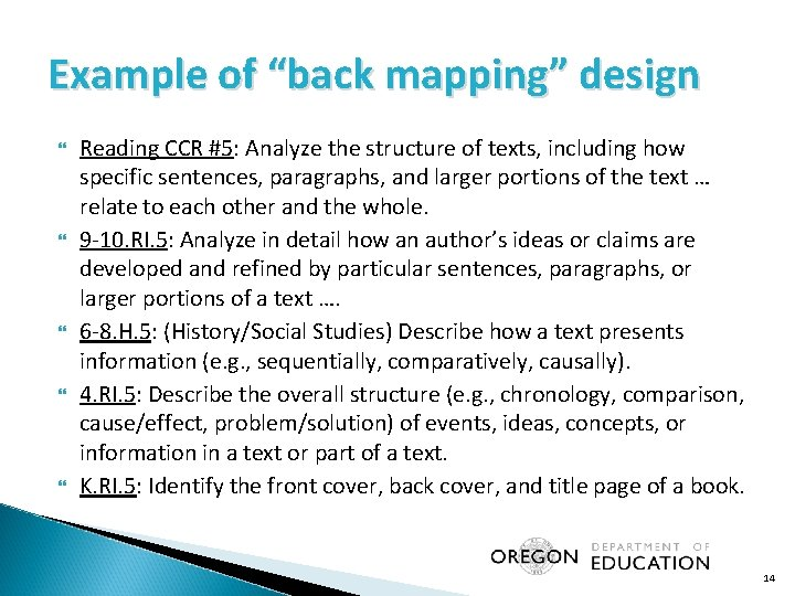 """Example of """"back mapping"""" design Reading CCR #5: Analyze the structure of texts, including"""