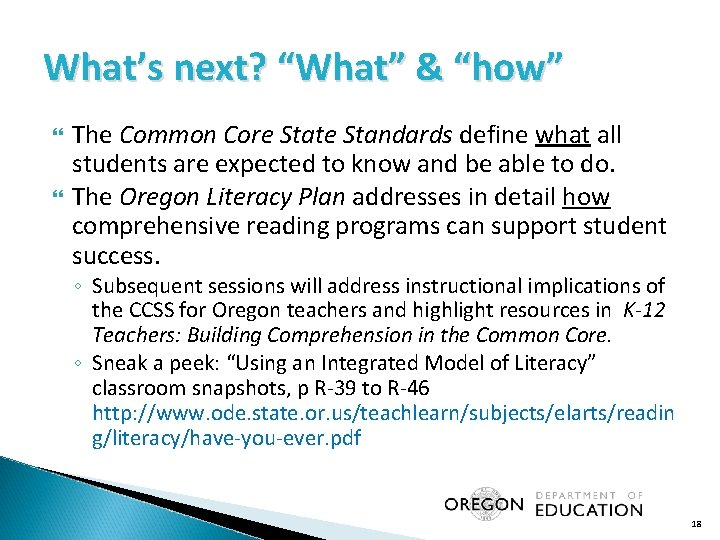 """What's next? """"What"""" & """"how"""" The Common Core State Standards define what all students"""