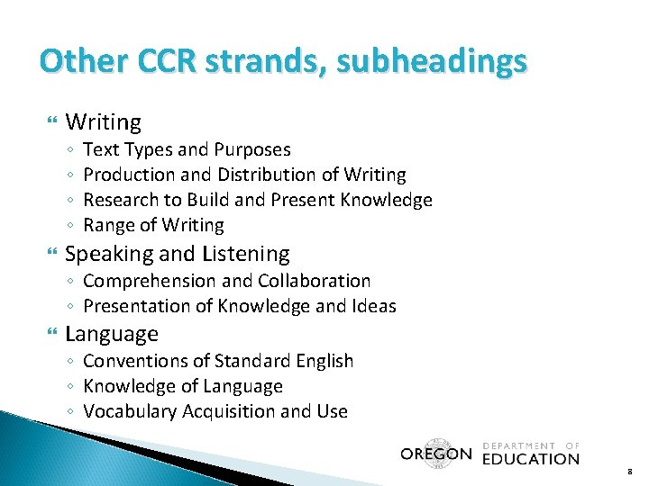 Other CCR strands, subheadings Writing ◦ ◦ Text Types and Purposes Production and Distribution