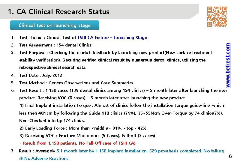 1. CA Clinical Research Status 1. Test Theme : Clinical Test of TSIII CA