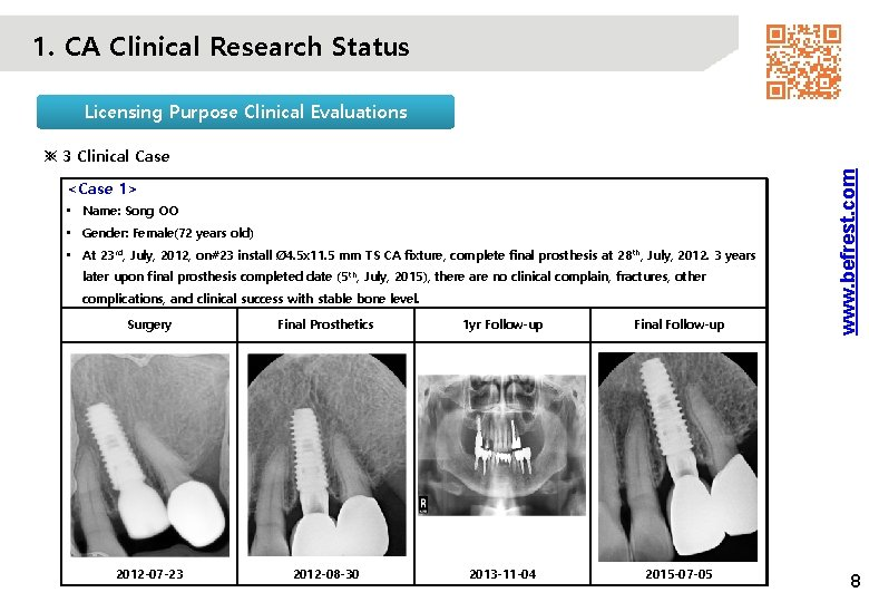 1. CA Clinical Research Status Licensing Purpose Clinical Evaluations <Case 1> • Name: Song
