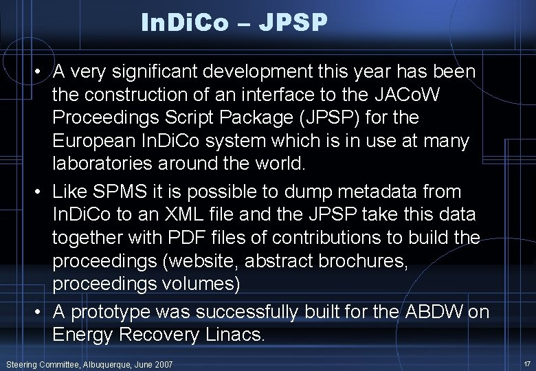 In. Di. Co – JPSP • A very significant development this year has been