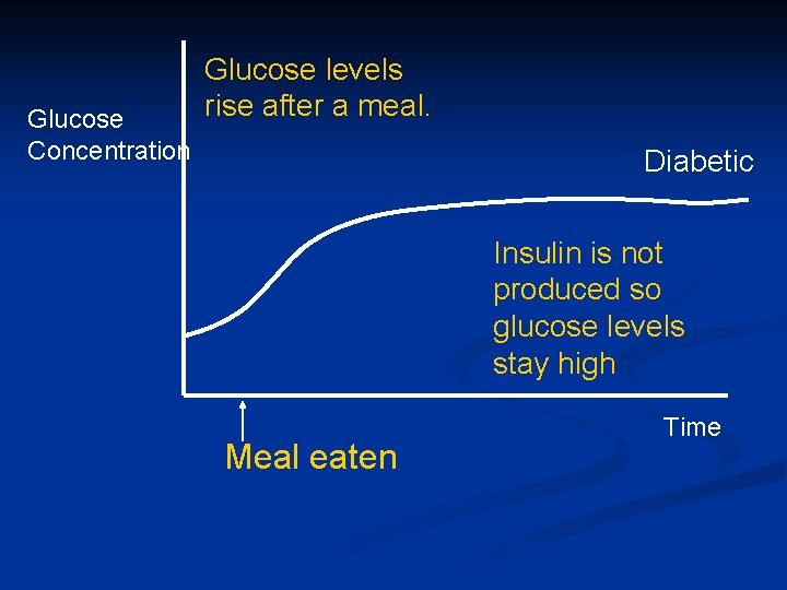 Glucose Concentration Glucose levels rise after a meal. Diabetic Insulin is not produced so