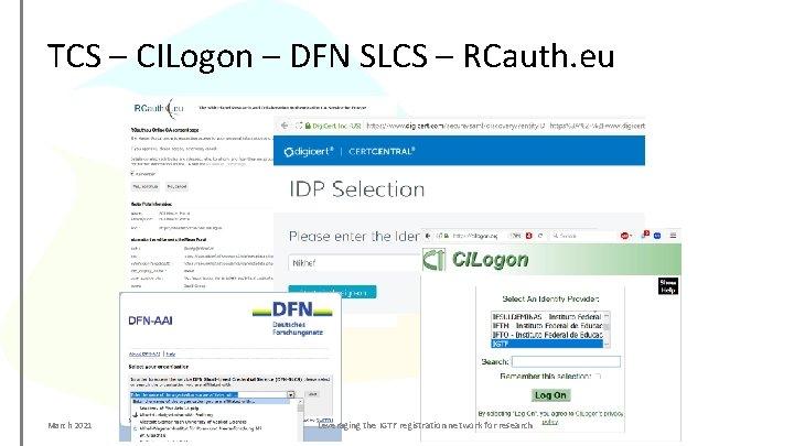 TCS – CILogon – DFN SLCS – RCauth. eu March 2021 Leveraging the IGTF