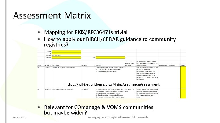 Assessment Matrix • Mapping for PKIX/RFC 3647 is trivial • How to apply out