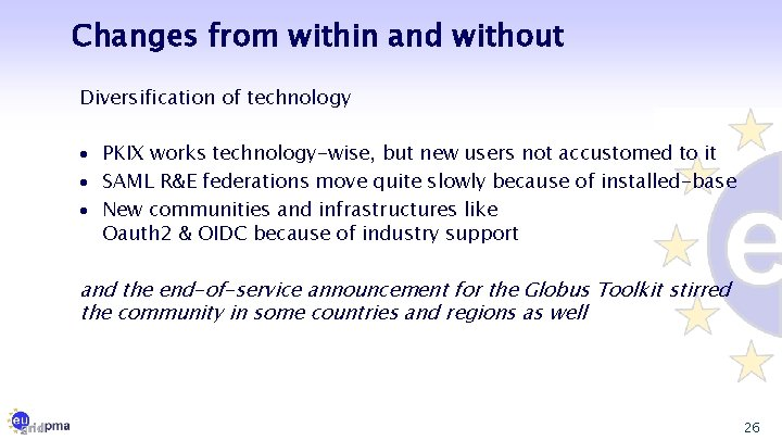 Changes from within and without Diversification of technology · PKIX works technology-wise, but new