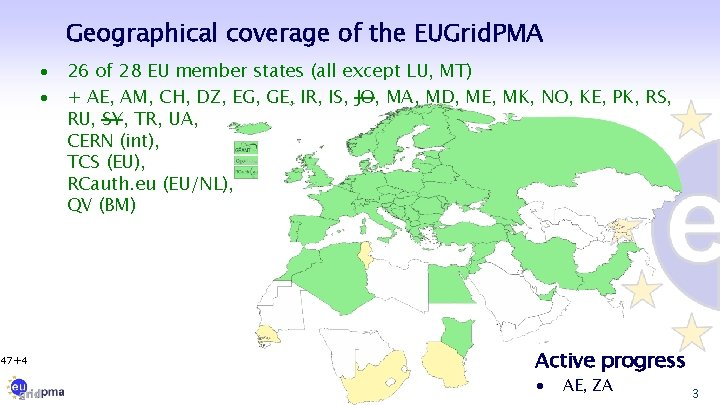 Geographical coverage of the EUGrid. PMA · · 47+4 26 of 28 EU member