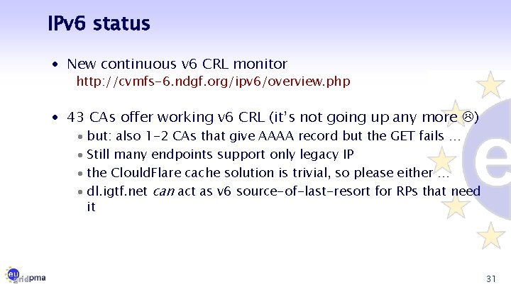 IPv 6 status · New continuous v 6 CRL monitor http: //cvmfs-6. ndgf. org/ipv