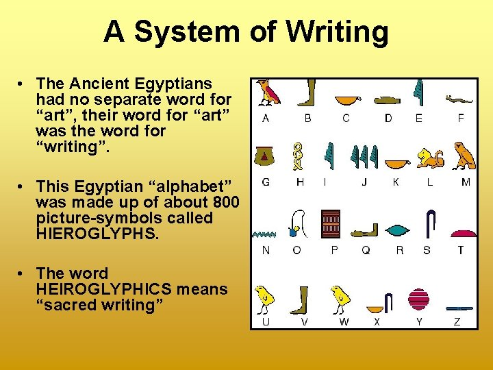 """A System of Writing • The Ancient Egyptians had no separate word for """"art"""","""