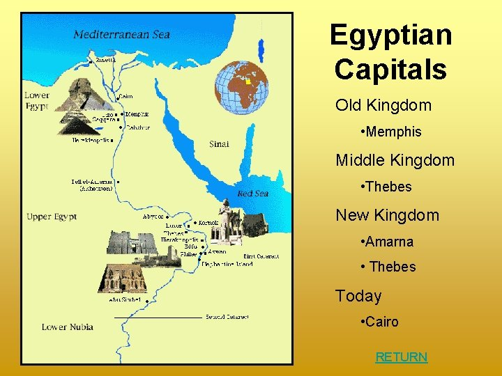 Egyptian Capitals Old Kingdom • Memphis Middle Kingdom • Thebes New Kingdom • Amarna