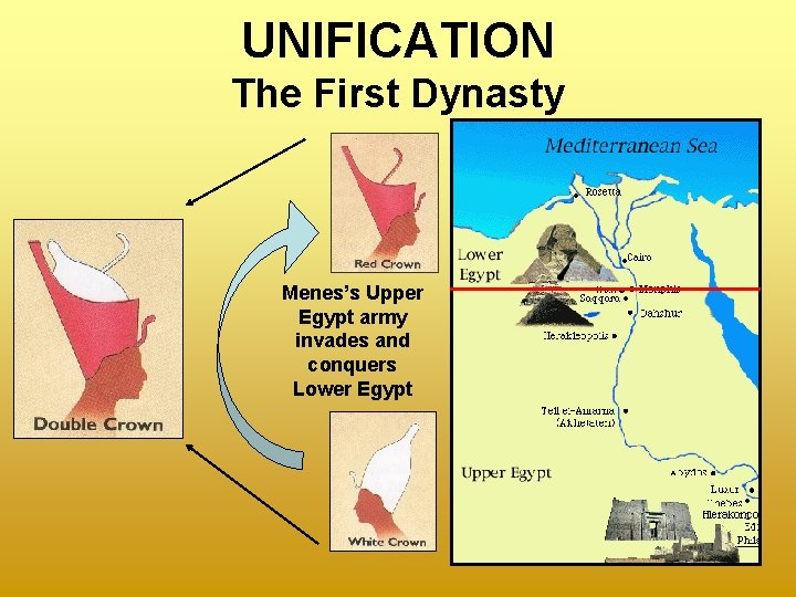 UNIFICATION The First Dynasty Menes's Upper Egypt army invades and conquers Lower Egypt
