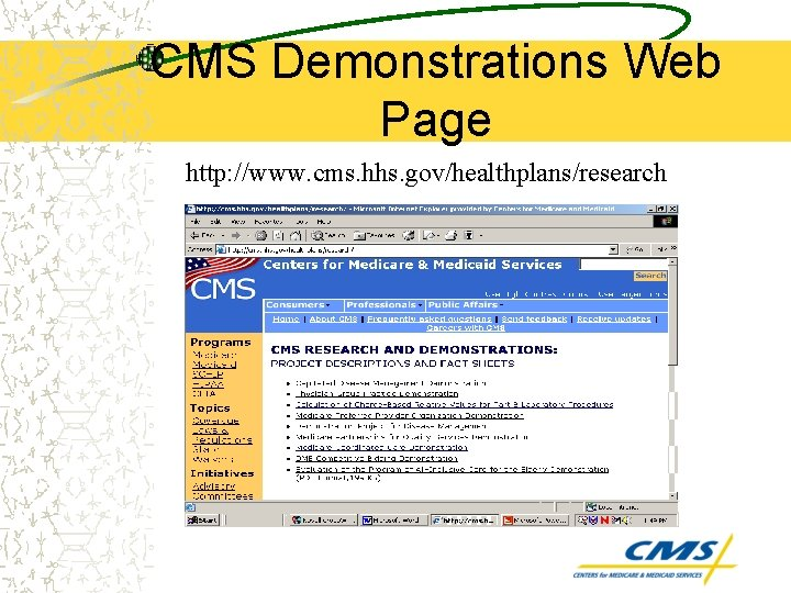 CMS Demonstrations Web Page http: //www. cms. hhs. gov/healthplans/research